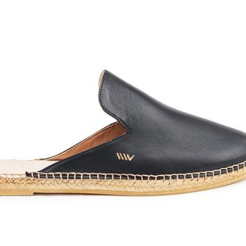 Vilafortuny Leather Slip-on Mules - Black