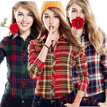 High Quality Woman Blusas Plaid Blouse Shirt Casual Long Sleeve Blouses Femininas Female Blouses Flannel Shirts Women Tops J2349