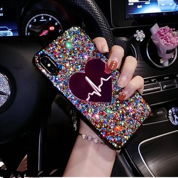 Glitter Sequin Big Heart Case For Iphone
