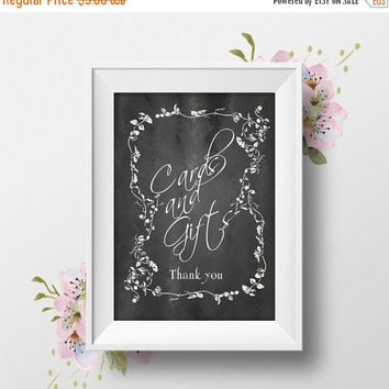 "Printable Wedding Sign ""Cards & Gifts"" 8x10, Chalkboard, Rustic Country, Instant Download, DIY Wedding Table Signs"
