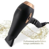 ONETOW Asavea hair dryer Pro AC motor ionic, ceramic fast 1875W long life blow dryer (Black)