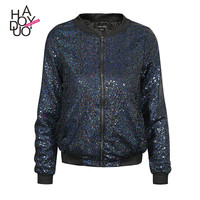 Haoduoyi Fashion blingbling sequins outwear coats casual baseball style women jackets
