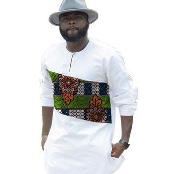 African print shirts men africa clothing customized white and prints patchwork long sleeve dashiki tops