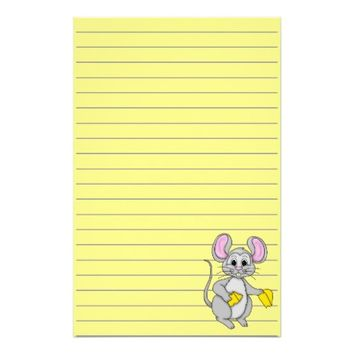 Cartoon Style Mouse Graphic, Lined Stationery