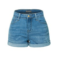 LE3NO Womens Stretchy High Rise Cuffed Denim Shorts with Pockets