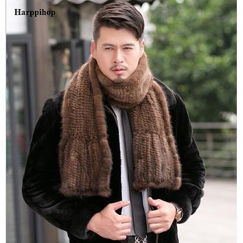 2016 Modern men Mink Fur Shawl Good Gift Real Fur Scarf Genuine Mink Scarf Hand Knitted Mink Scarf Winter Fur 15% discount