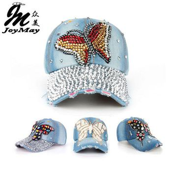 LMFUS4 Joymay 2015 New Fashion Design Hat Cap Bling Butterfly  Rhinestone Jean Denim Baseball Cap For Woman B217-224