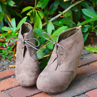 """Jenny"" Suede Lace Up Wedge Booties - Taupe"