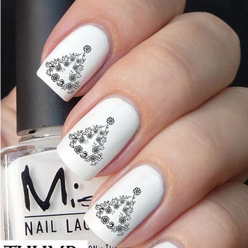 flower christmas tree nail decal