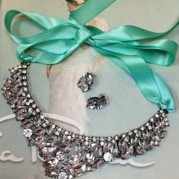 Bridesmaid jewelry Set , bridal necklace earrings, vintage inspired Tiffany blue ribbon Crystal bib necklace earrings, wedding jewelry set