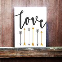 Love With Arrows Hand Painted Canvas, Gift for Birthday, Gift for Her, Gift for Him, Gift for Friend, Home Decor, Wall Art, Wall Hanging