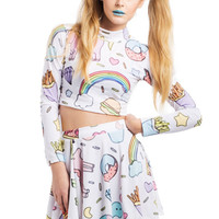 UNICORN CO-ORD womens crop top turtle neck skater skirt 2 pieces tumblr grunge retro print colorfull rainbow kawaii donuts burger cute