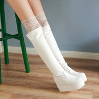 Lace Knee High Boots Platform Women Shoes Fall|Winter 7955