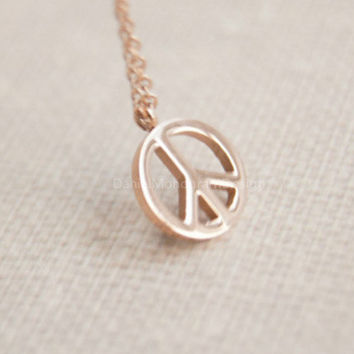 Necklace- Rose Gold peace necklace,peace sign necklace