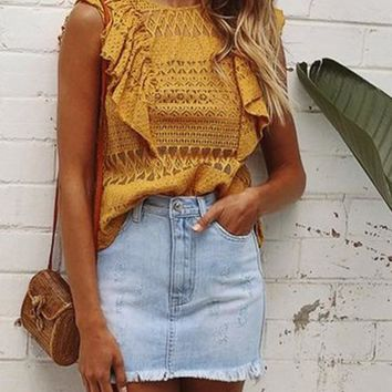 Yellow Cut Out Ruffle Buttons Round Neck Vest