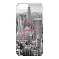 New York City NYC live your dream travel hot pink iPhone 7 Case