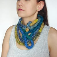 Thin tube scarf, blue, yellow necklace, skinny scarf, fashion accessory, crochet wool and acrylic yarn bracelet, soft warm accessory