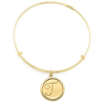 Alex and Ani Precious Initial T Charm Bangle - 14kt Gold Filled