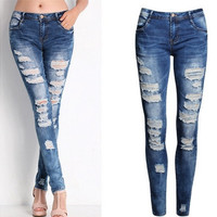 Sexy Women Blue Casual Stretch Ripped Skinny Pencil Pants Jeans XS-2XL [9305914951]