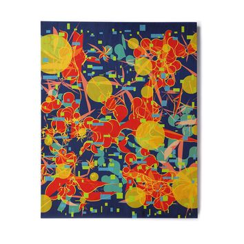 "Frederic Levy-Hadida ""Foliage Folie 2"" Blue Orange Digital Birchwood Wall Art"