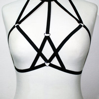 Womens lingerie handmade chest body harness bondage cage bra sexy goth fashion elastic