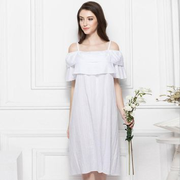 2018 spring summer fashion European 100%cotton palace retro princess sleep dress soft beauty Spaghetti Strap sleepwear wj1784