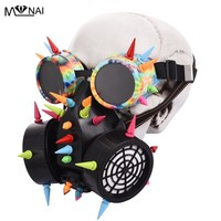 Retro Men Women Steampunk Rivets Goggles Gas Mask for Cosplay Gothic Punk Rock Spikes Glasses Respirator Costumes Accessories