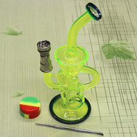Newest Colored glass bong with Domeless Titanium nail Faberge Water pipe Glass Bongs Water Pipes Recycler Filter Percolators Smoking