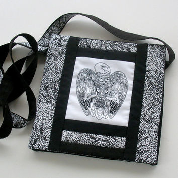 Black and White Eagle Purse, Native design, Quilted