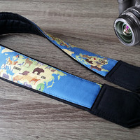 Animal Map Camera Strap. Blue Camera Strap. Photographer Gift.  Accessories