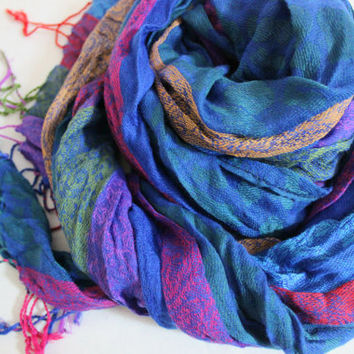 Ethnic Men scarves, Turkish linen scarf, Color Men scarves, Striped scarf men, Rainbow linen scarf, Blue green purple scarves, Men gifts