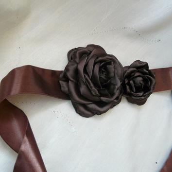 Brown Flower Sash, Brown Satin Sash, Bridal Belt with Flower, Bridesmaid Sash, Chocolate Wedding Sash