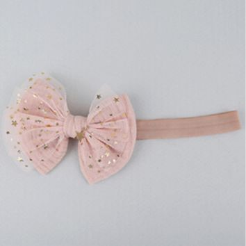 Peachy Pink & Gold Star Headband
