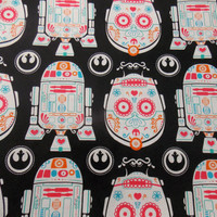 Star Wars Fabric  C3PO Sugar Skull Fabric R2D2 Sugar Skull Fabric Quiliting Fabric Craft Fabric Pillowcase Fabric Curtain Fabric
