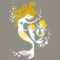 "8X10"" mermaid mother and twin boy and girl. giclee print on fine art paper. gray, teal blue, yellow, gold, blonde."
