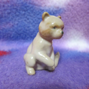 Vintage USSR Porcelain Figurine small bear baranovka soviet 1950s russian antique