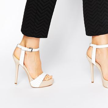 Carvela Gown Platform White Leather Heeled Sandals