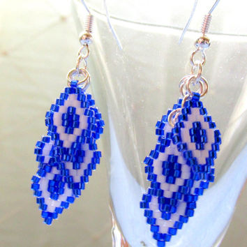 Beaded Earrings, Native American Style, Tribal Style Earrings, Chandelier Earring, Dangle Earrings, Blue, White, Brick Stitch
