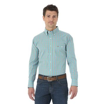 Wrangler Men's Western Fashion Khaki Blue White Plaid Long Sleeve Shirt - MG2030M
