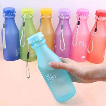 Candy Colors Unbreakable Frosted Leak-proof 550mL BPA Free Portable Water Bottle.