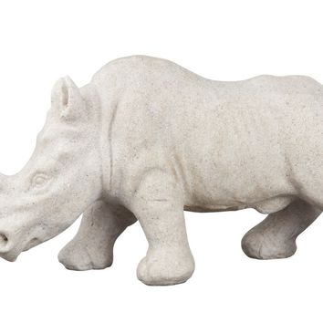 Rhino Sculture White Resin