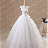 Big discount 2014 New arrival Straps With Handmade flowers A line Wedding dresses With Lace Up Back