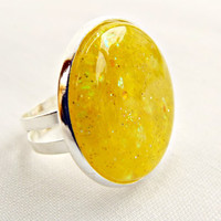 Yellow Glitter Ring, Silver Plated Ring, Yellow Ring, Adjustable Ring, Silver Cabochon Ring, Lemon Glitter, Yellow Cabochon