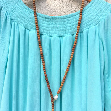 Lariat Necklace - Freshwater Baroque Fireball Nuclear Pearls, Boho Long Sandalwood Necklace, Wood Bead Mala Pearl Necklace by loveandlulu