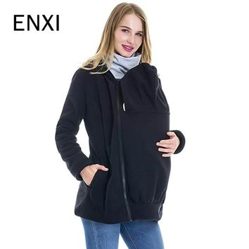 Fashion 2018 Winter Autumn Baby Carrier Jacket Kangaroo Warm Maternity Hoodies Outerwear Coat Maternity Clothes Plus Size M-3XL