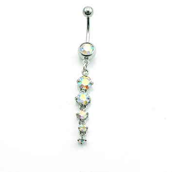 Fashion 316L Stainless Steel  Dangle Crystal Ball Fake  Body Piercing Jewelry