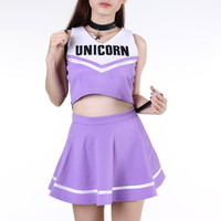 Glitters For Dinner — Made To Order - Team Unicorn Cheerleading Set In purple
