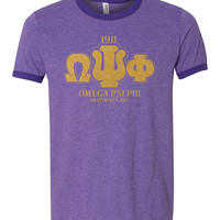 Omega Psi Phi - Greek Letters Mens Ringer Tee