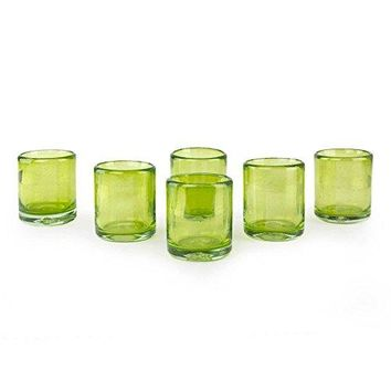 NOVICA Hand Blown Green Recycled Glass Shot Glasses, 2 oz 'Lime And Salt' (medium)