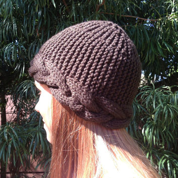 Coupon: WINTER15 for 20% OFF. Women's Beanie Hat with Cable trim in brown  Unisex beanie.  Knitted Cable hat. Toque Beanie Hat Cap